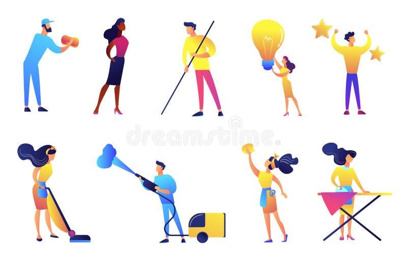 Grupo de limpeza das ilustrações do vetor da empresa de serviços ilustração do vetor