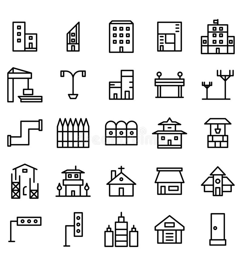 Grupo de linha ícone ou símbolo do preto da cidade da construção e dos bens imobiliários da ilustração Curso edit?vel e cor ilustração do vetor