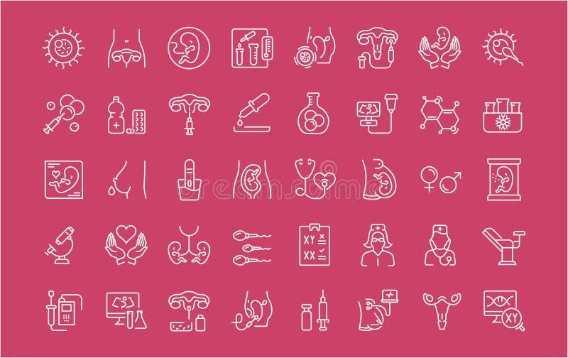 Grupo de linha ícones de bebê do tubo de ensaio ilustração royalty free
