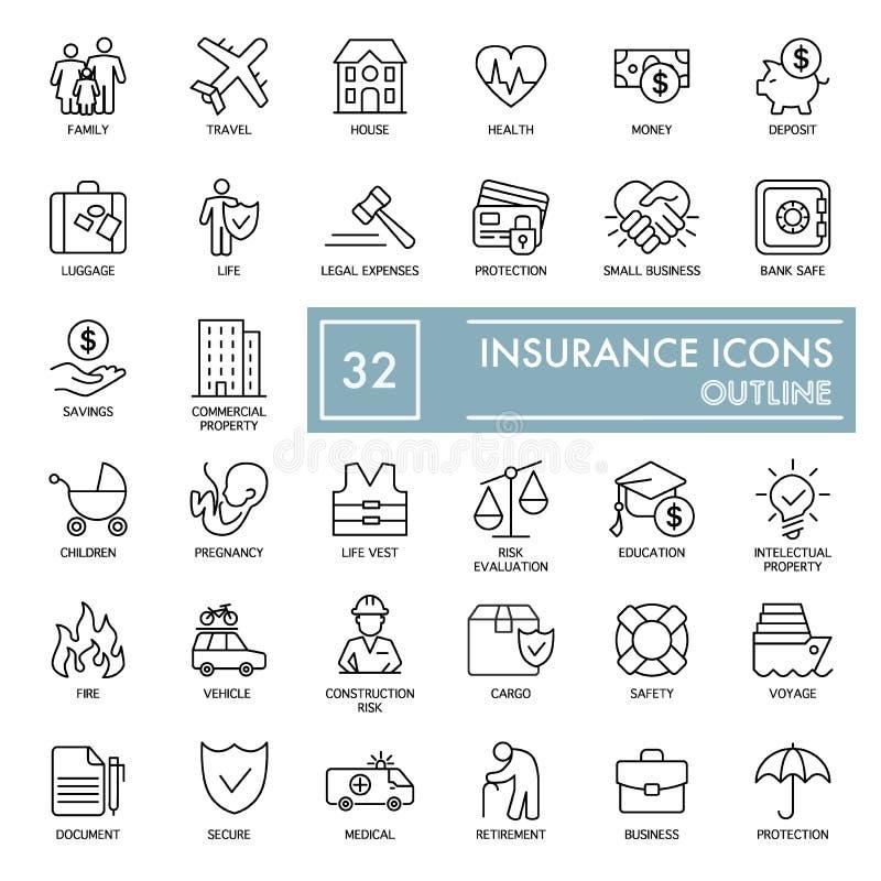 Grupo de linha ícones do vetor do seguro Ícones finos lisos do esboço isolados no branco Eps 10 ilustração stock