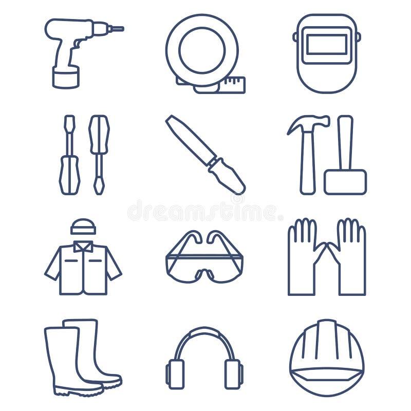 Grupo de linha ícones para DIY, ferramentas e roupa de trabalho ilustração stock