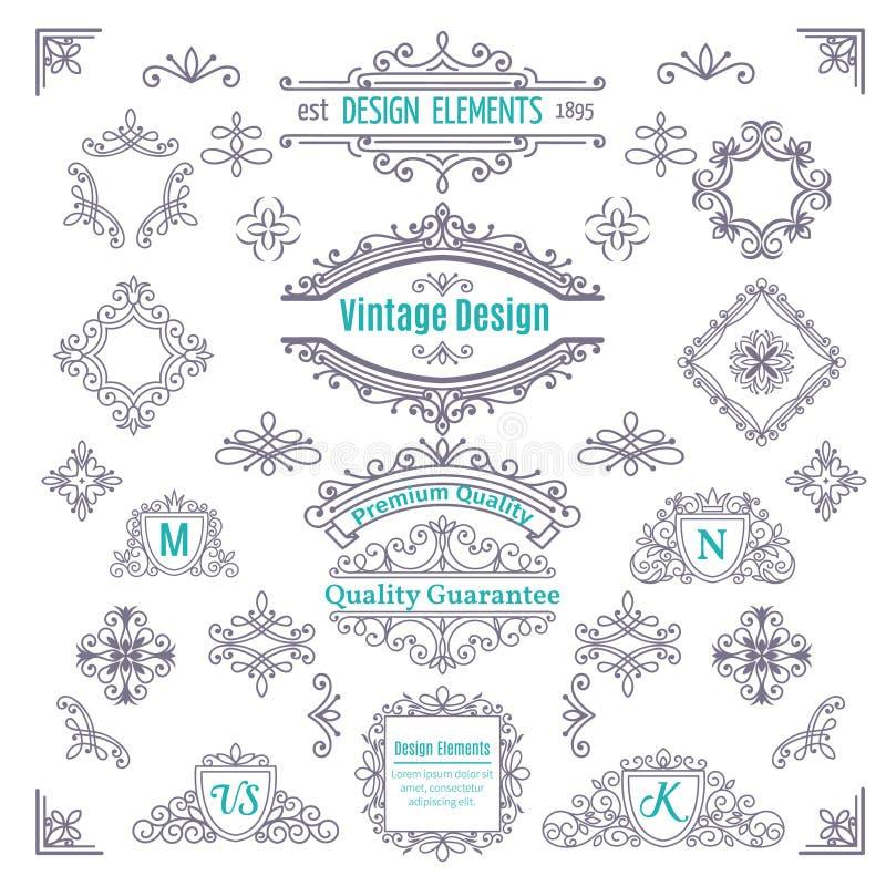 Grupo de linha Art Calligraphic do vetor do vintage ilustração do vetor