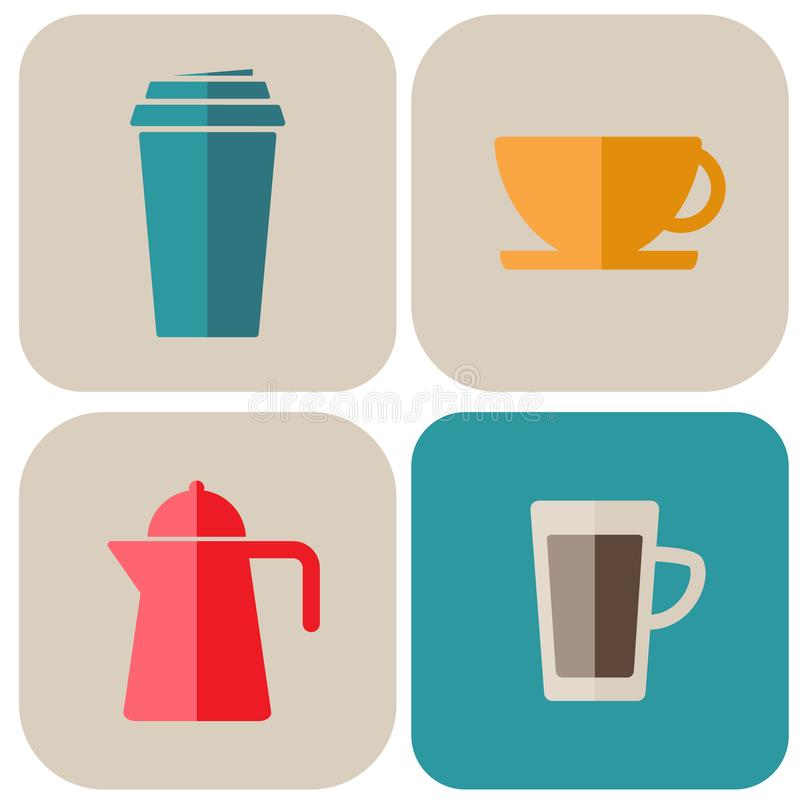 Grupo de linha ?cones do vetor do caf? e do ch? Ilustração do estoque do vetor, EPS 10 ilustração royalty free