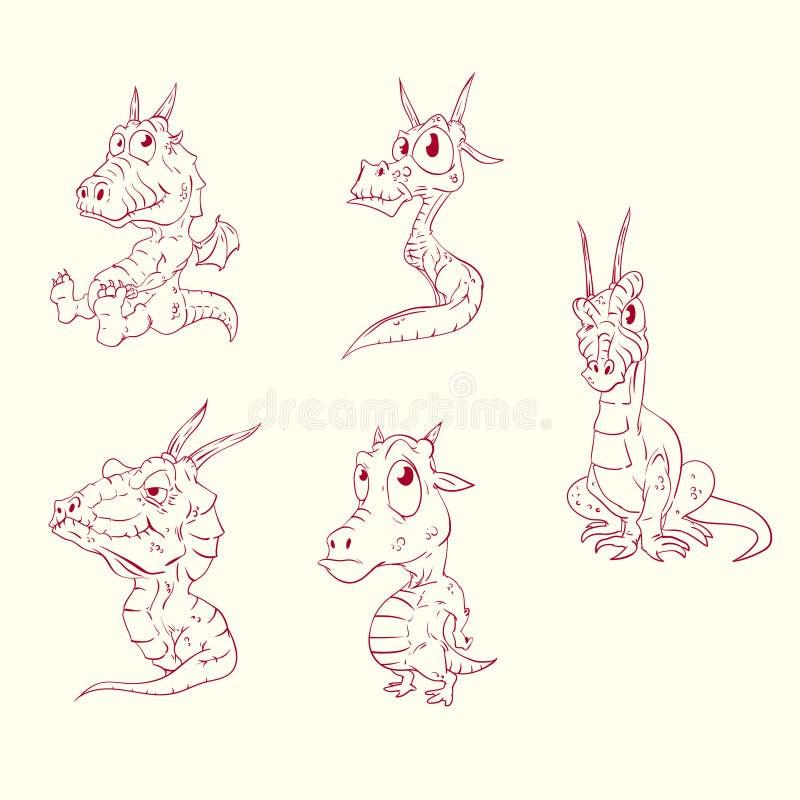 Grupo de linha dragões tirados do bebê ilustração royalty free
