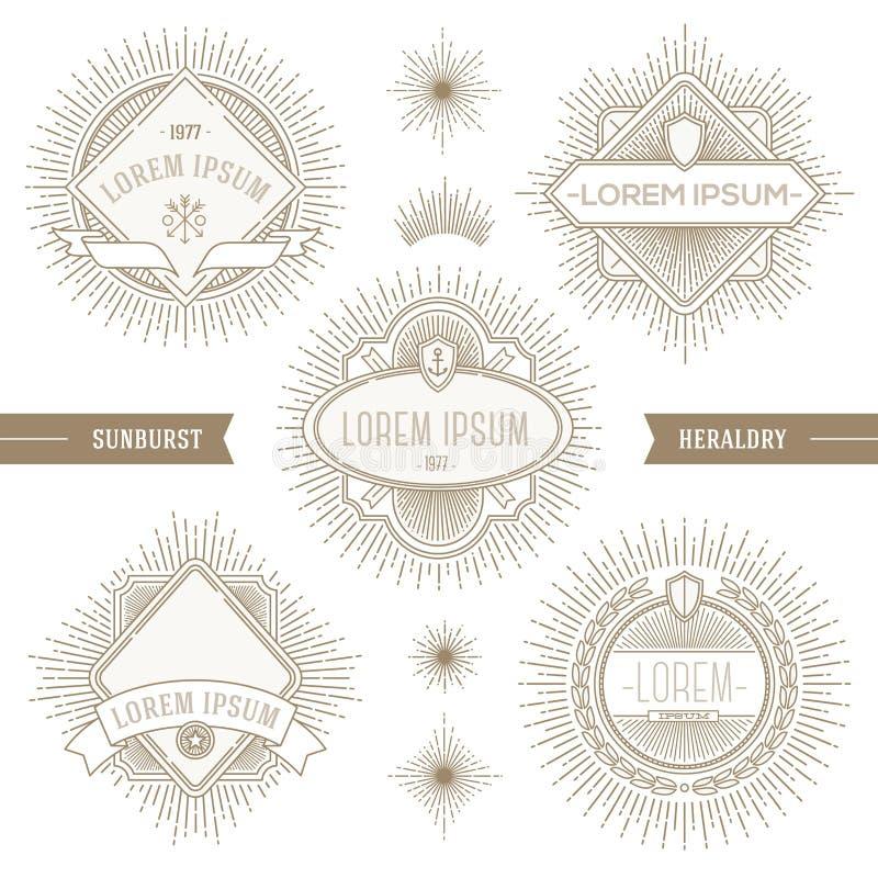 Grupo de linha emblemas heráldicos ilustração royalty free