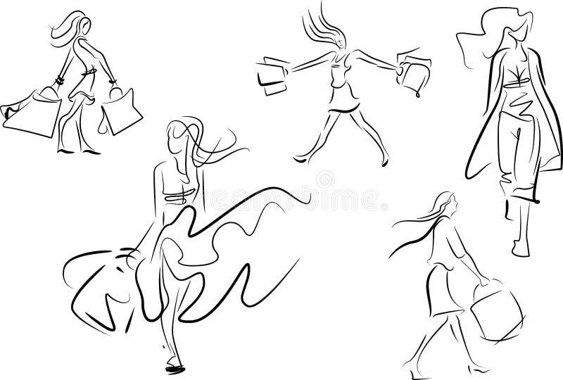 Grupo de linha esboços da garatuja de uma compra da mulher ilustração stock