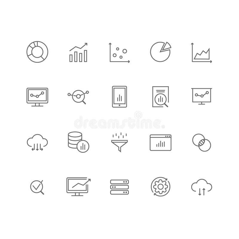 Grupo de linha fina ícones de 20 análises de dados ilustração royalty free