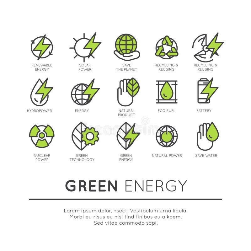 Grupo de linha fina ícones de ambiente ilustração do vetor
