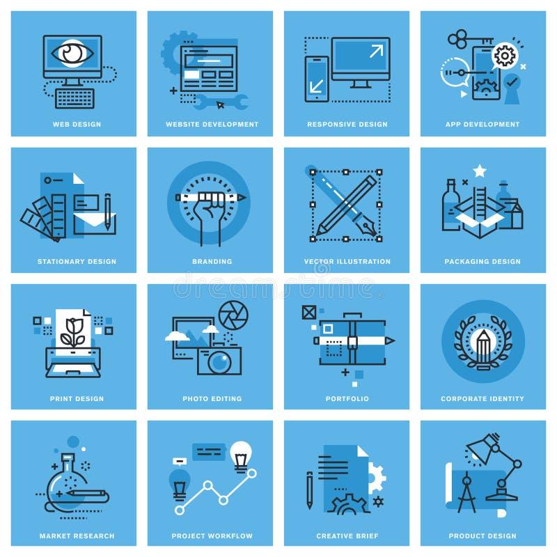 Grupo de linha fina ícones do conceito de categorias diferentes de projeto gráfico, Web site e projeto e desenvolvimento do app ilustração do vetor