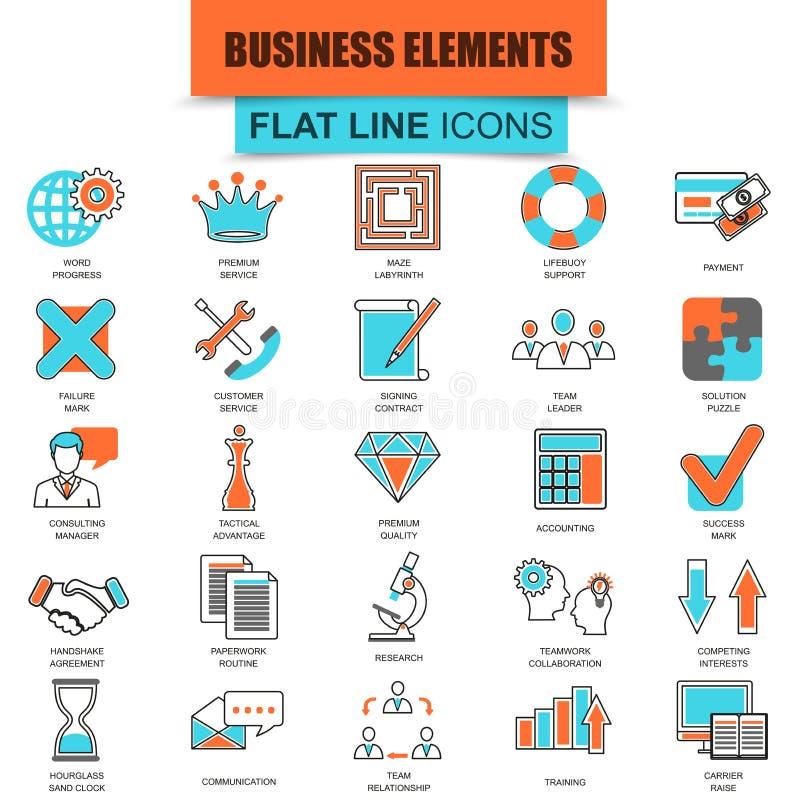 Grupo de linha fina ícones que fazem elementos do negócio