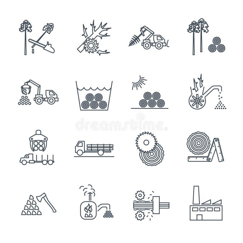 Grupo de linha fina ícones que registram a produção ilustração stock