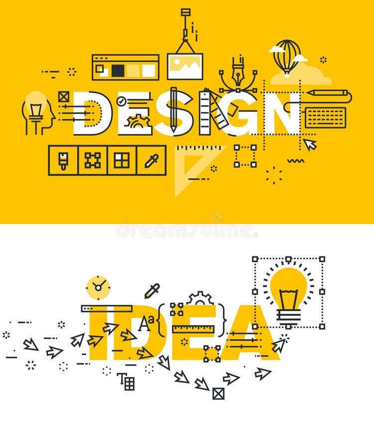 Grupo de linha fina bandeiras da palavra do projeto e da ideia ilustração stock