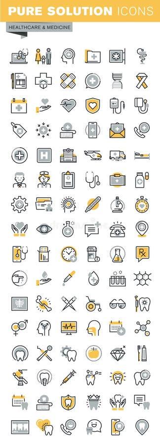Grupo de linha fina cuidados médicos do vetor moderno e de ícones da medicina ilustração royalty free