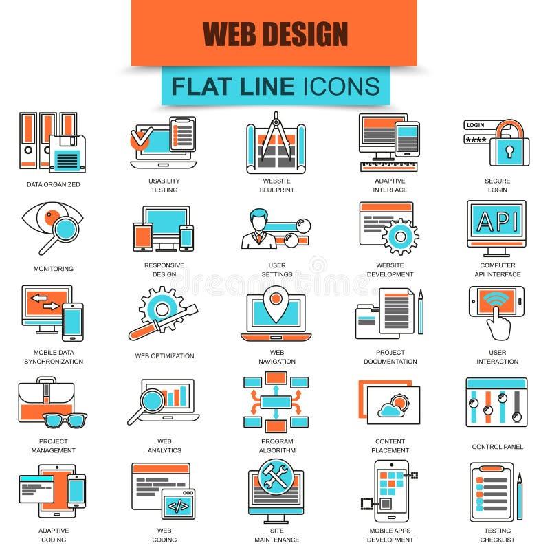Grupo de linha fina design web e desenvolvimento dos ícones ilustração stock