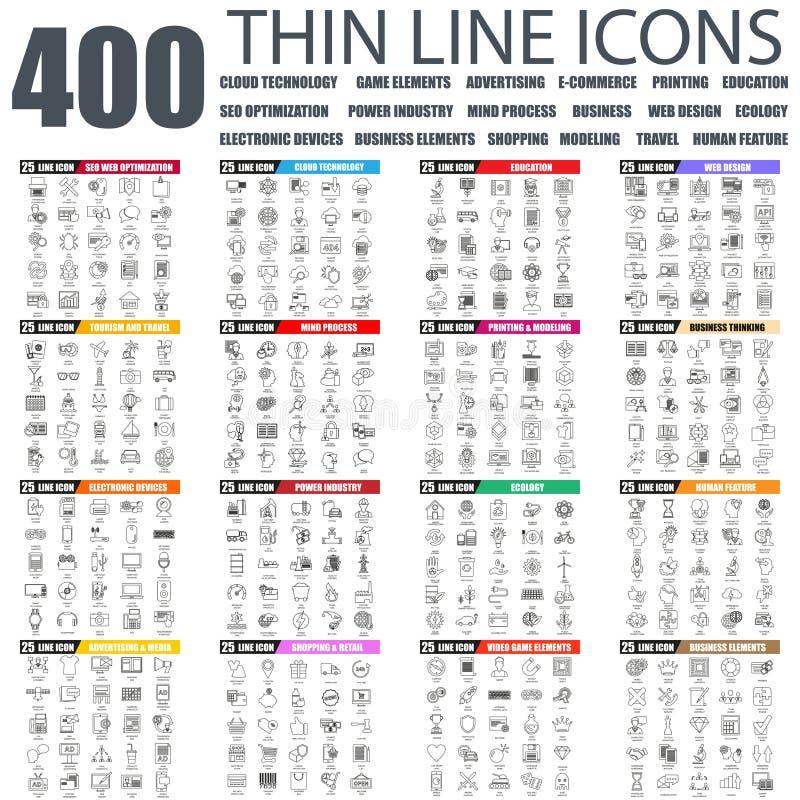 Grupo de linha fina lisa ícones da Web do negócio ilustração stock