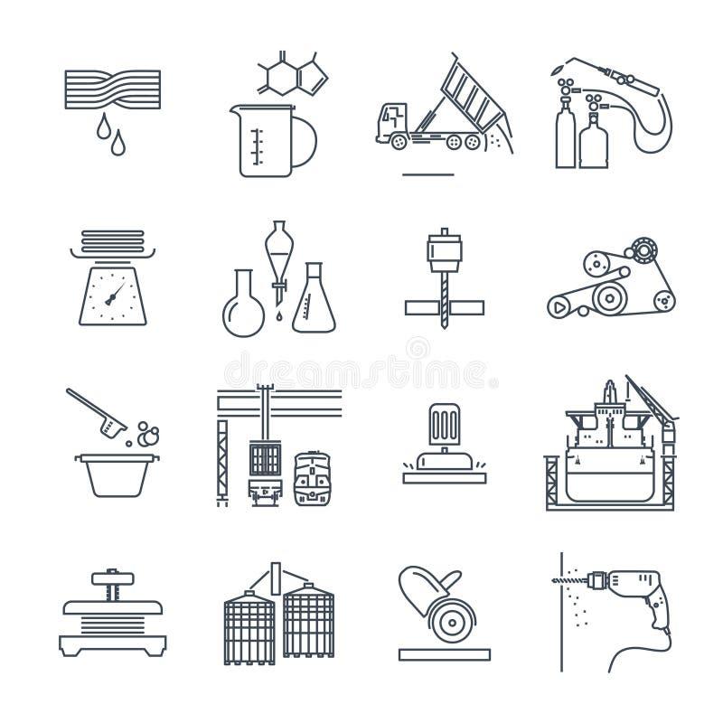 Grupo de linha fina produção industrial dos ícones, procedimento de fabricação ilustração royalty free