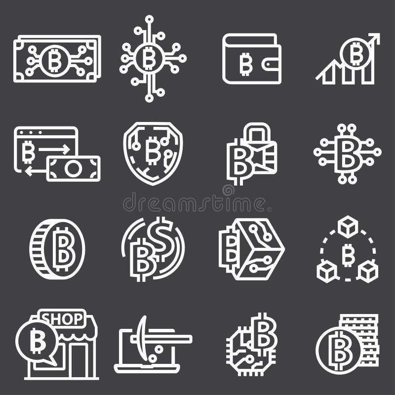 Grupo de linha fina vetor Bitcoin do curso e ícones de Cryptocurrency ilustração royalty free