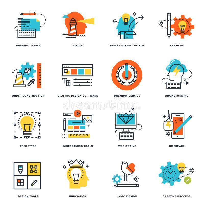 Grupo de linha lisa ícones do projeto do projeto gráfico, das ferramentas e do processo criativo