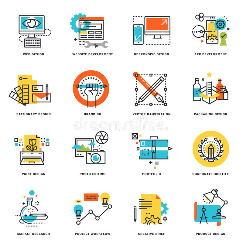 Grupo de linha lisa ícones do projeto do projeto gráfico, o Web site e o projeto e o desenvolvimento do app ilustração royalty free