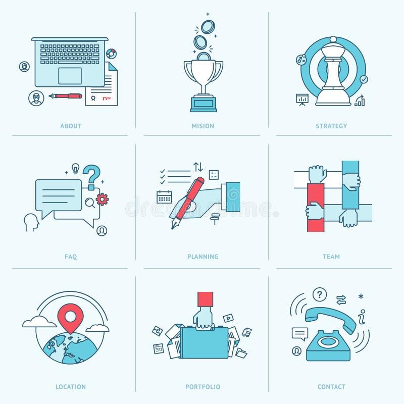 Grupo de linha lisa ícones para o negócio ilustração royalty free