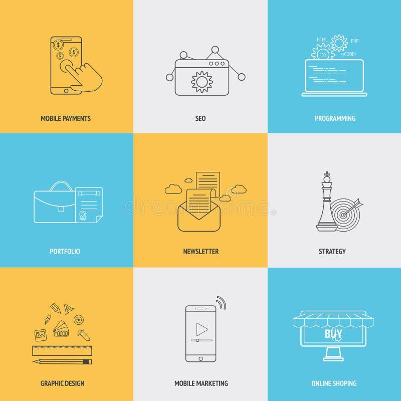 Grupo de linha lisa conceitos dos ícones ilustração royalty free