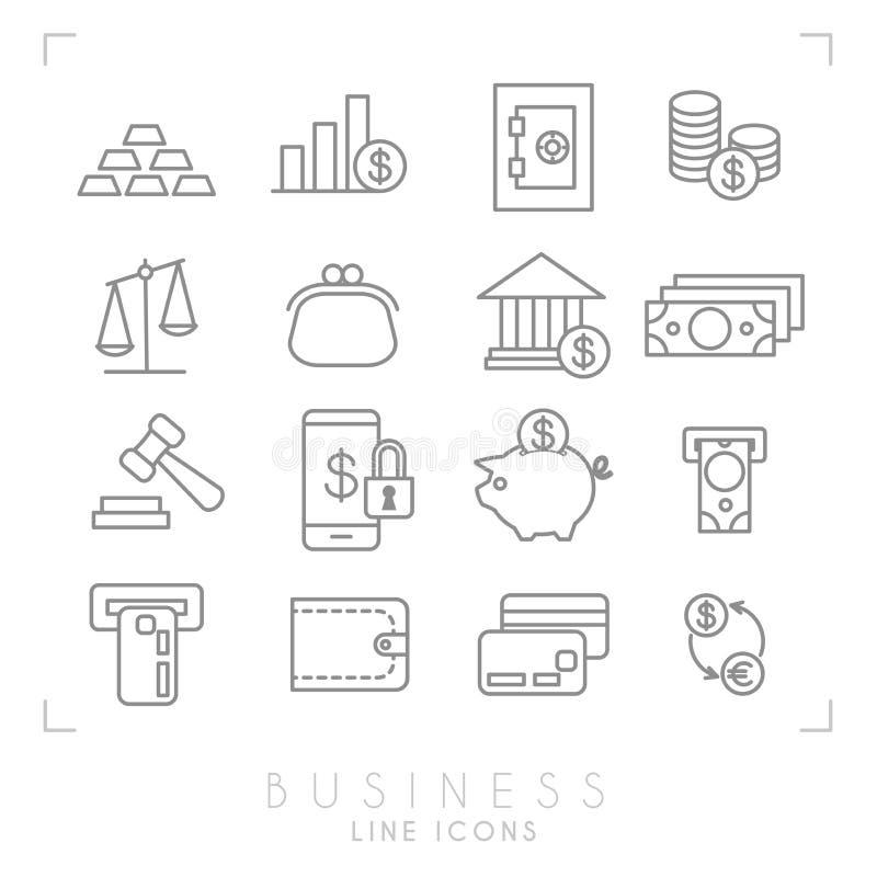 Grupo de linha negócio fino e ícones financeiros ilustração stock