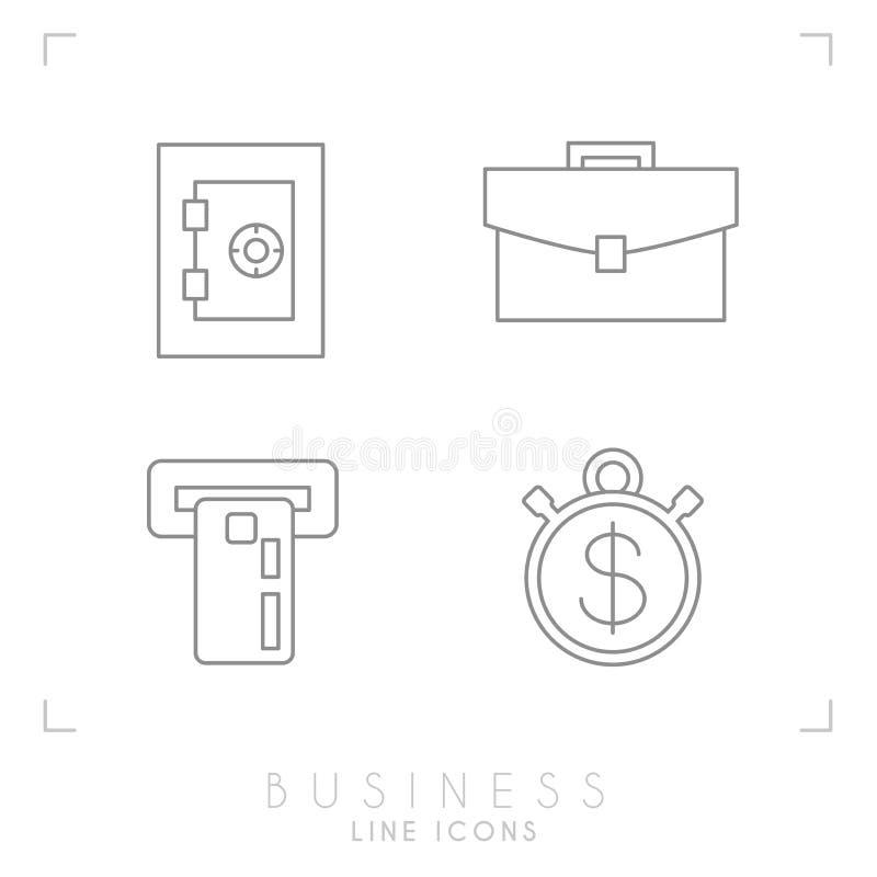 Grupo de linha negócio fino e ícones financeiros ilustração royalty free