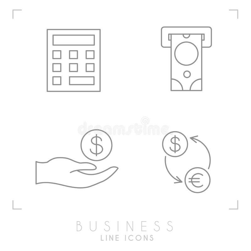 Grupo de linha negócio fino e ícones financeiros ilustração do vetor