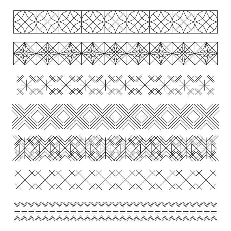 Grupo de linha projeto geométrico elements55 do vintage do moderno ilustração stock