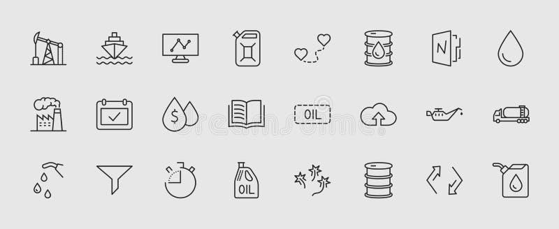 Grupo de linha relacionada ícones do vetor do óleo Contém ícones como o caminhão de combustível, posto de gasolina, fábrica do ól