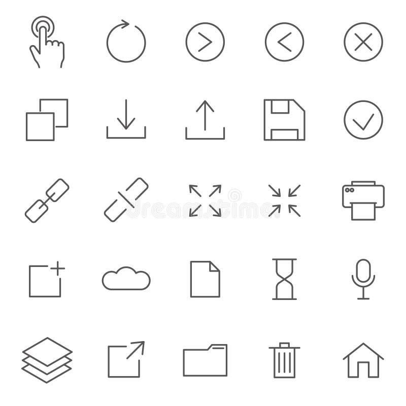 Grupo de linha relacionada ícones do vetor da relação Inclui ícones como adiante, seta, fim, economias, jogo, relação, cópia e et ilustração royalty free