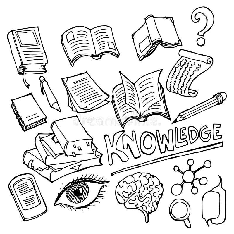 Grupo de linha tirada mão vetor eps10 do esboço da garatuja da ilustração do desenho do ícone do conhecimento ilustração do vetor