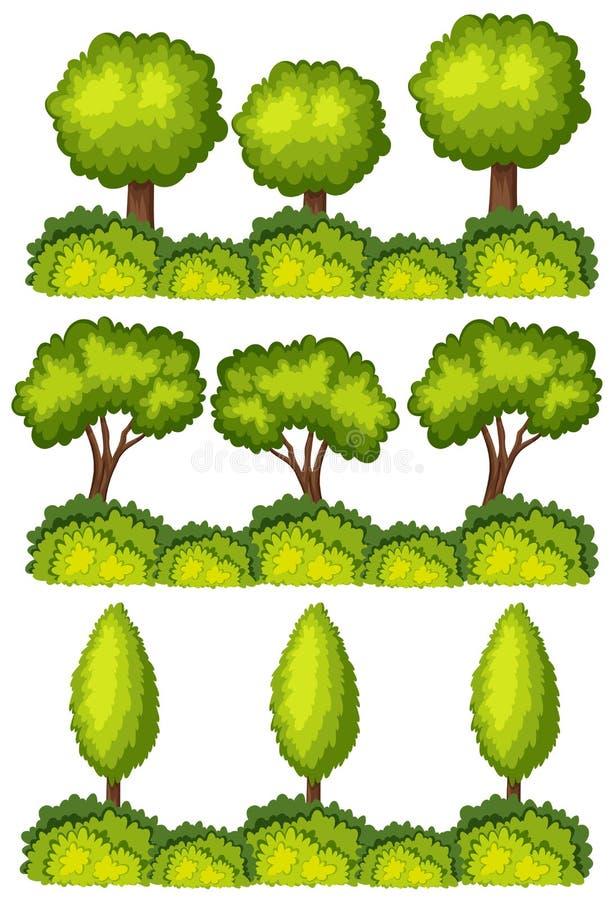 Grupo de linhas de árvore ilustração do vetor