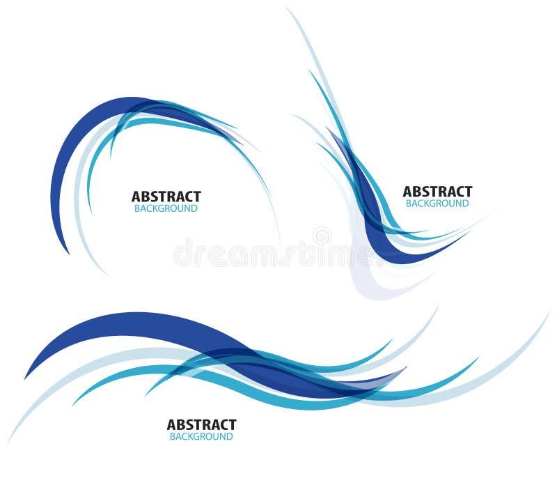 Grupo de linhas azuis de fluxo da onda ilustração stock