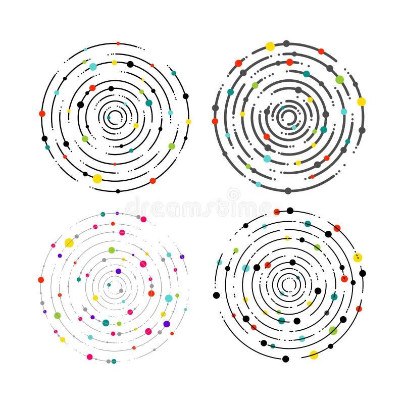Grupo de linhas e de pontos circulares da cor Linhas circulares teste padrão do gráfico, linha tracejada ondinhas Elemento geomét ilustração royalty free