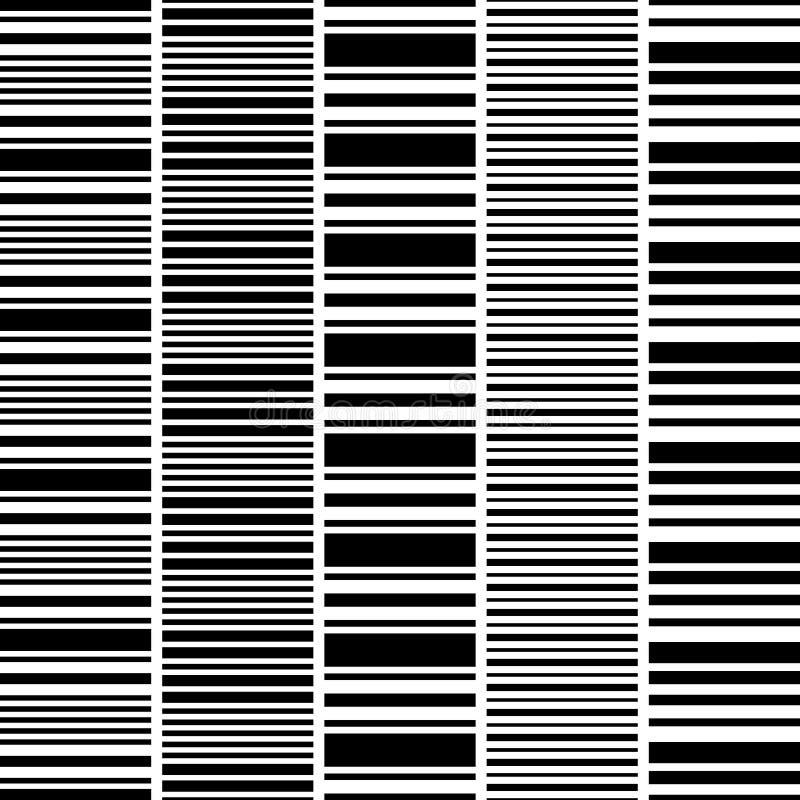 Grupo de listras horizontais brancas pretas sem emenda ilustração do vetor