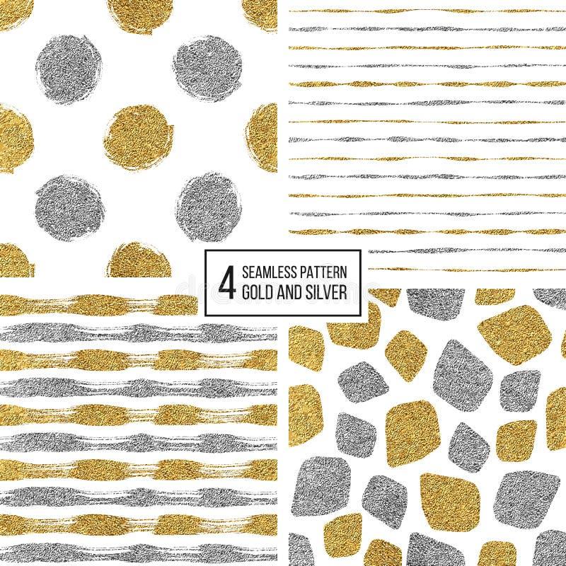 Grupo de listras sem emenda do ouro e da prata do teste padrão, às bolinhas, pontos do mosaico ilustração do vetor