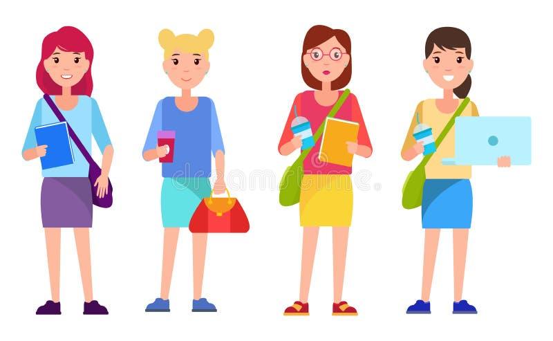 Grupo de livros do estilo de Teenage Girls Cartoon do estudante ilustração royalty free