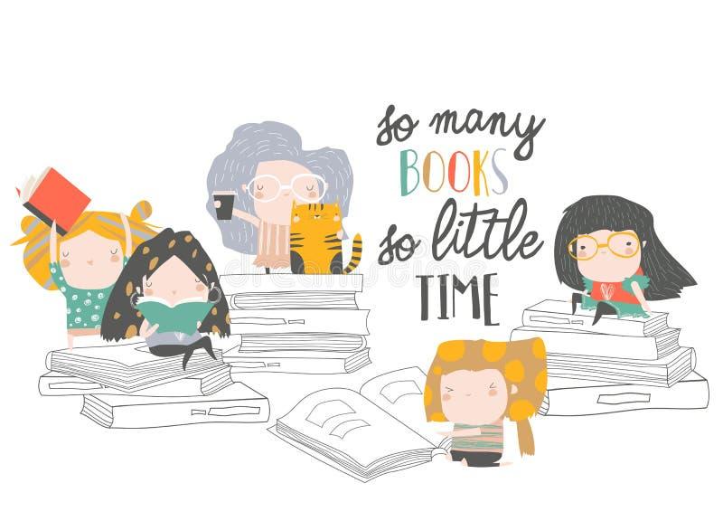 Grupo de livros de leitura das crian?as dos desenhos animados Meu primeiro livro ilustração royalty free