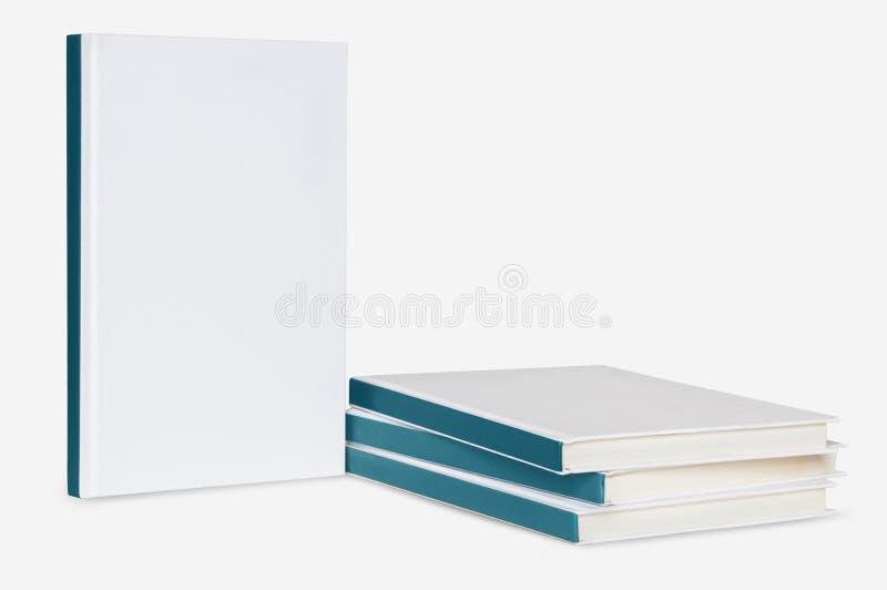 Grupo de livros vazios no fundo branco foto de stock
