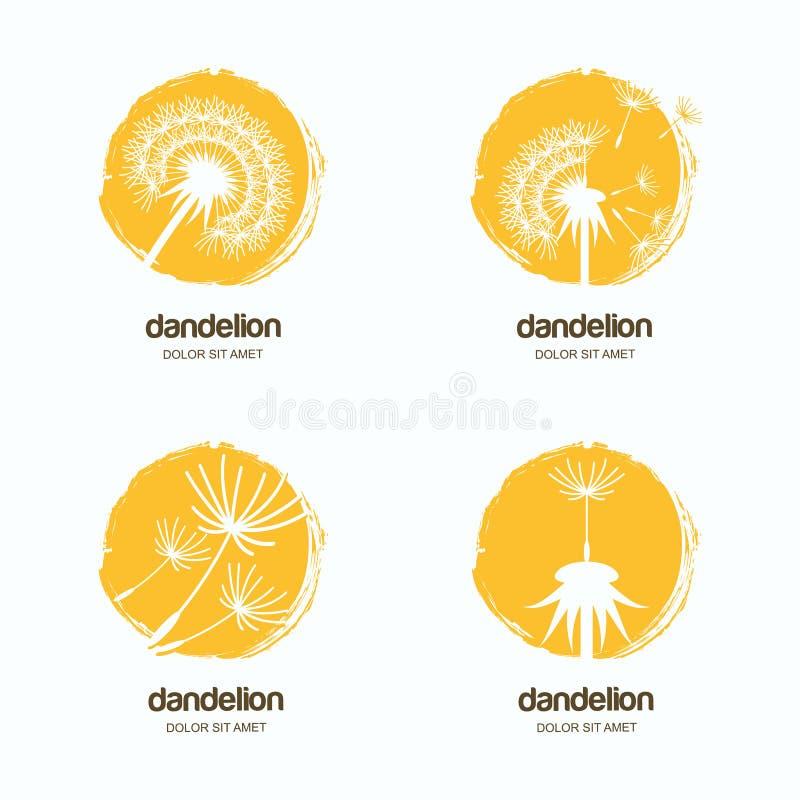 Grupo de logotipo, de ícone ou de emblema com dentes-de-leão Molde do projeto da aquarela para a entrega ou a loja de lembranças  ilustração stock