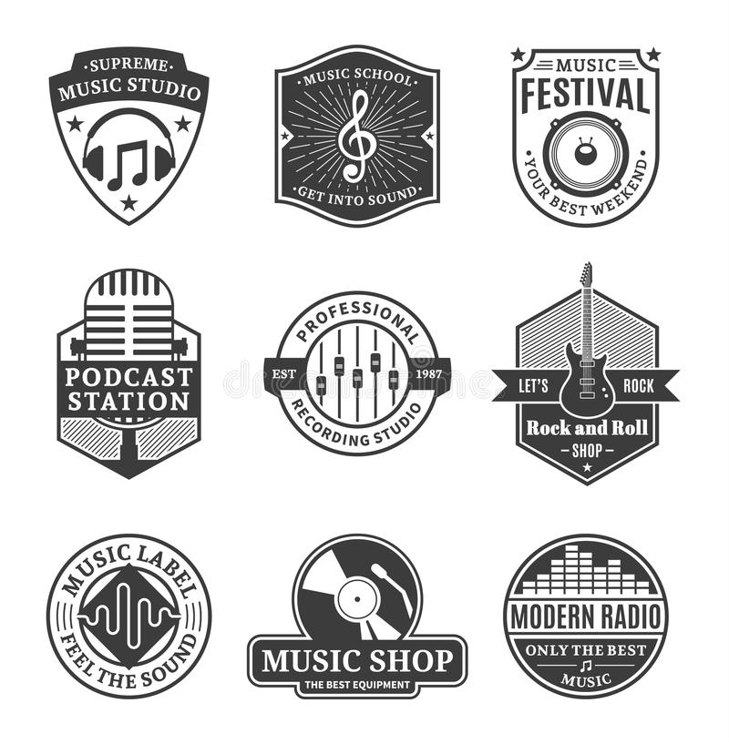 Grupo de logotipo da música do vetor, de ícones e de elementos do projeto ilustração stock