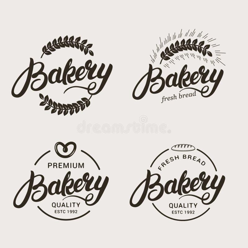 Grupo de logotipo da padaria e do pão ilustração royalty free