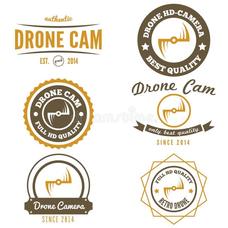 Grupo de logotipo, de etiqueta, de emblema ou de logotype para o zangão ilustração royalty free