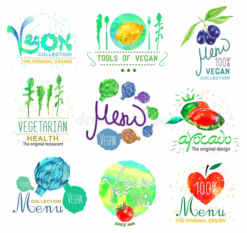 Grupo de logotipo do alimento biológico e do menu, crachás e elemento do projeto ilustração royalty free