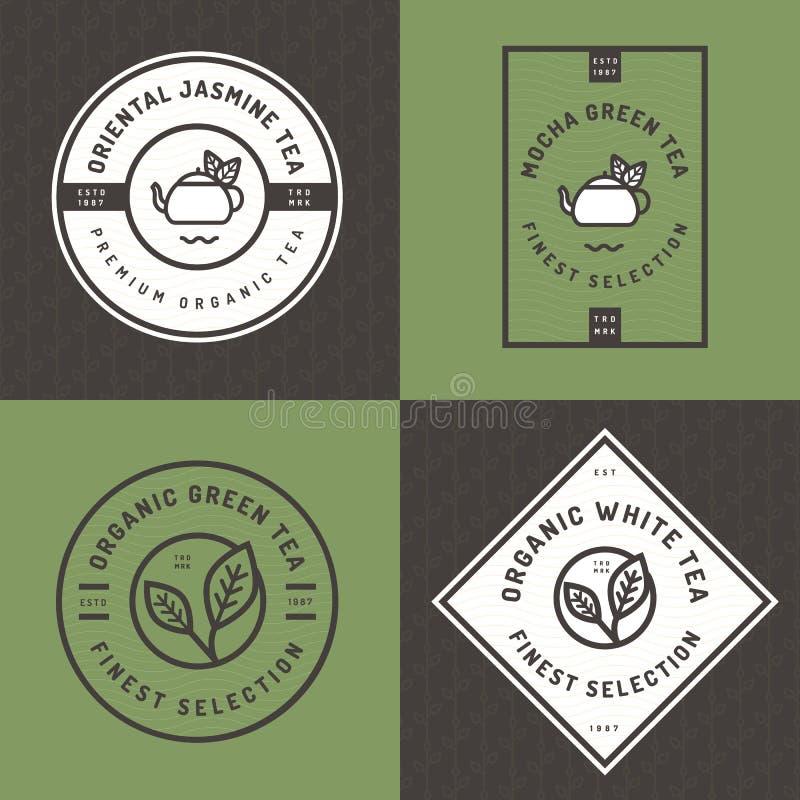 Grupo de logotipo do chá, crachás, bandeiras, emblema para a loja do chá no estilo linear com fundo sem emenda do teste padrão da ilustração do vetor