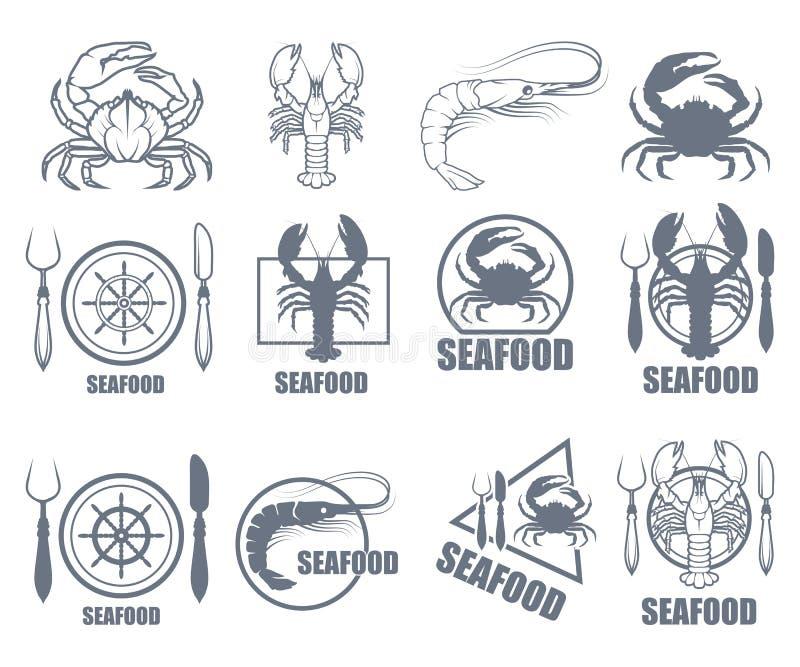 Grupo de logotipo do marisco ilustração stock