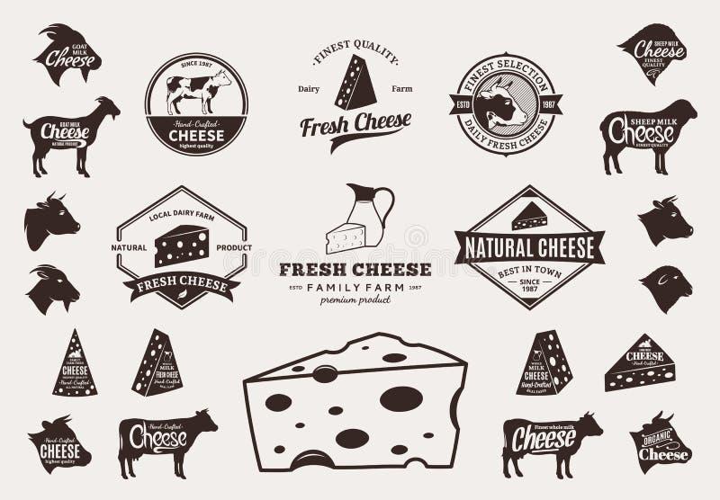 Grupo de logotipo do queijo do vetor, de ícones e de elementos do projeto ilustração royalty free