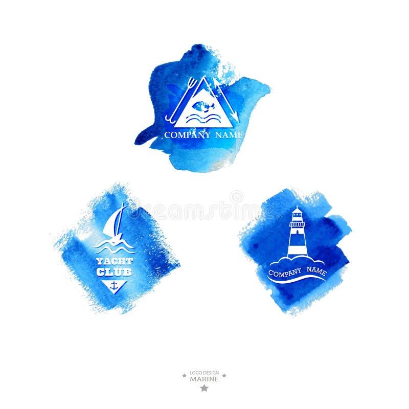 Grupo de logotipo do yacht club watercolor ilustração do vetor