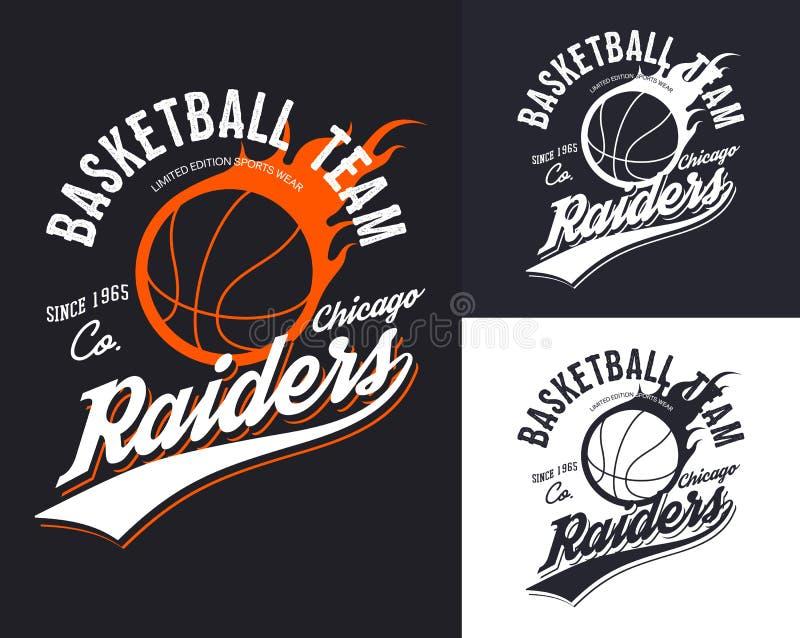 Grupo de logotipo isolado do basquetebol para a equipe de Chicago ilustração royalty free
